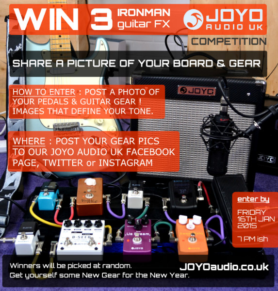 Win 3 ironman guitar fx from JOYO audio uk New Year New Gear competition